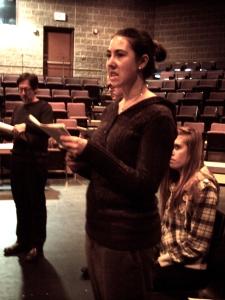 """FROM LEFT: Thorneloe professor Bruce Ward, Kelsey Rutledge, and Shaye Wiebe in """"The Crucible"""". Photo by Jocelyn Dotta."""